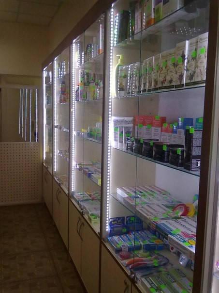 Светодиодная подсветка торговой витрины Аптеки