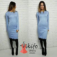 Голубоетеплое платье из ангоры