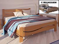 """Кровать из натурального дерева """"Женева +2 ящика"""" ТМ ХМФ"""