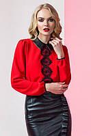 Шикарная женская блузка с кружевом красная