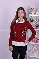 Кофточка женская из трикотажа красная с вышивкой