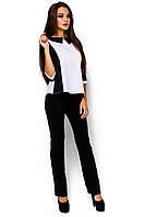 Классическая женская блузка из креп-софт, белая, размер 42-48
