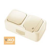Комбинация розетки с заземлением и выключателя 1-кл.ViKO Palmiye 90555681