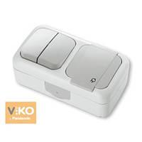 Комбинация розетки с заземлением и выключателя 2-кл.ViKO Palmiye 90555482