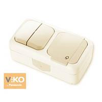 Комбинация розетки с заземлением и выключателя 2-кл.ViKO Palmiye 90555682