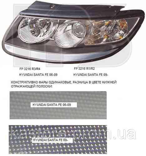 Фара передняя для Hyundai Santa Fe 06-09 левая (DEPO) под электрокорректор