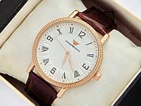 Чоловічі (Жіночі) кварцові наручні годинники Emporio Armani на шкіряному ремінці, фото 1