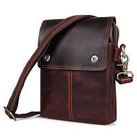Кожаная мужская сумка с бордовым оттенком 1006X, фото 1