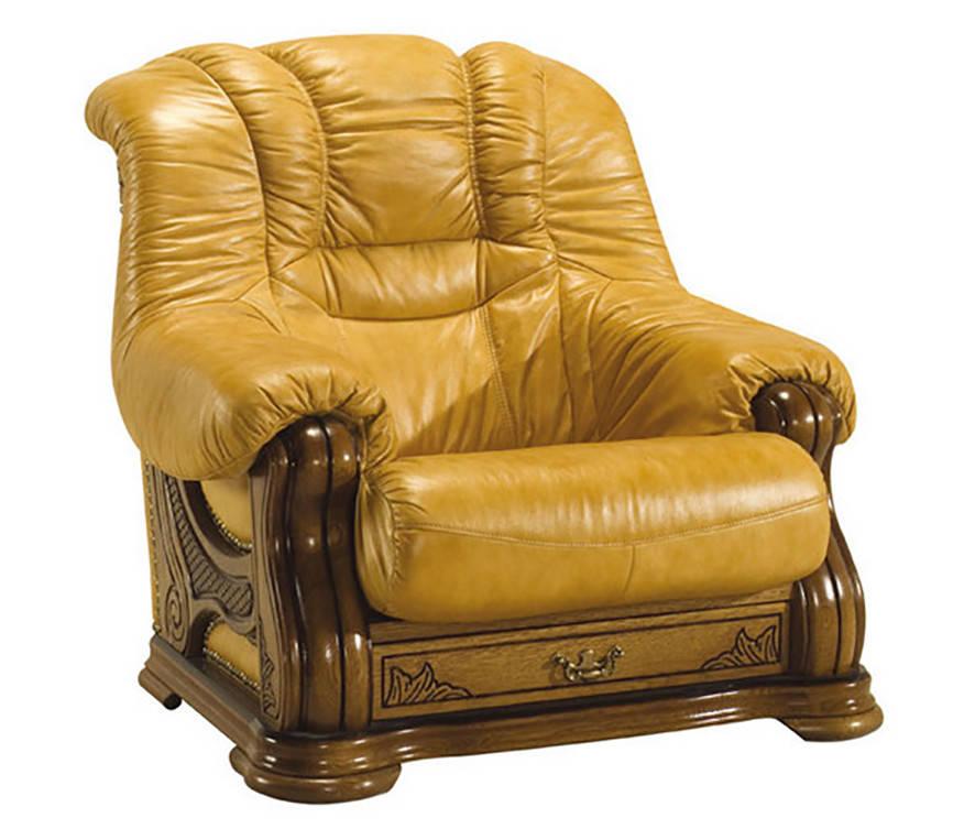 Классическое мягкое кресло в коже CHEVERNY (97см)