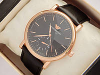 Мужские (Женские) кварцевые наручные часы Emporio Armani на кожаном ремешке, фото 1