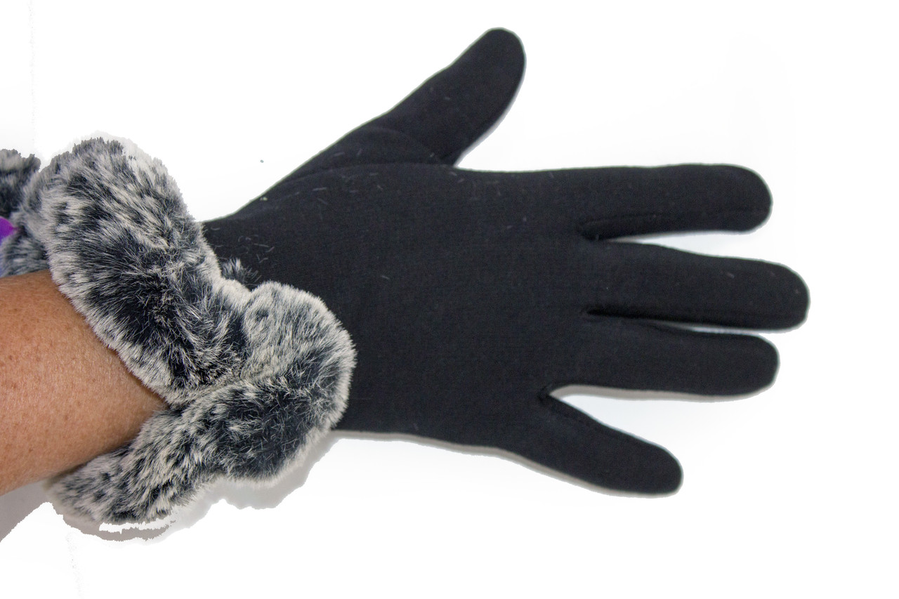 Женские перчатки стрейч+кролик БОЛЬШОЙ
