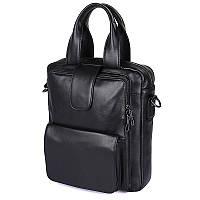 Кожаная черная сумка  7266A, фото 1
