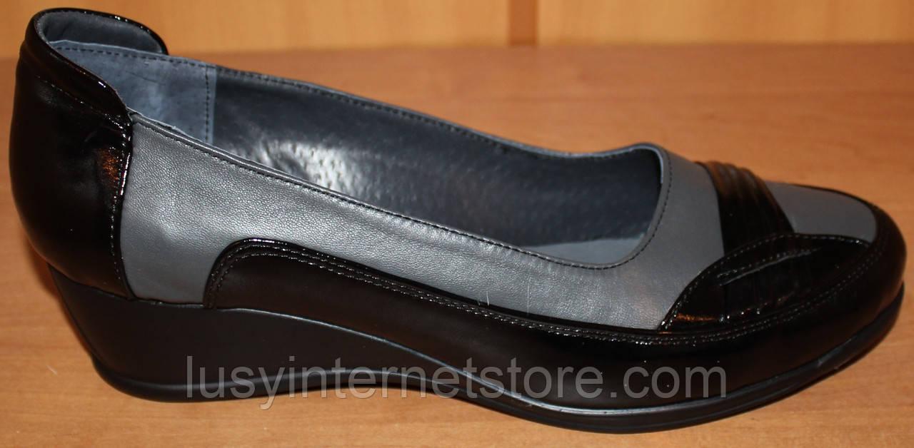 81127e197 Туфли на танкетке большого размера кожаные, женские туфли 38-43 от  производителя модель ВБ2380би