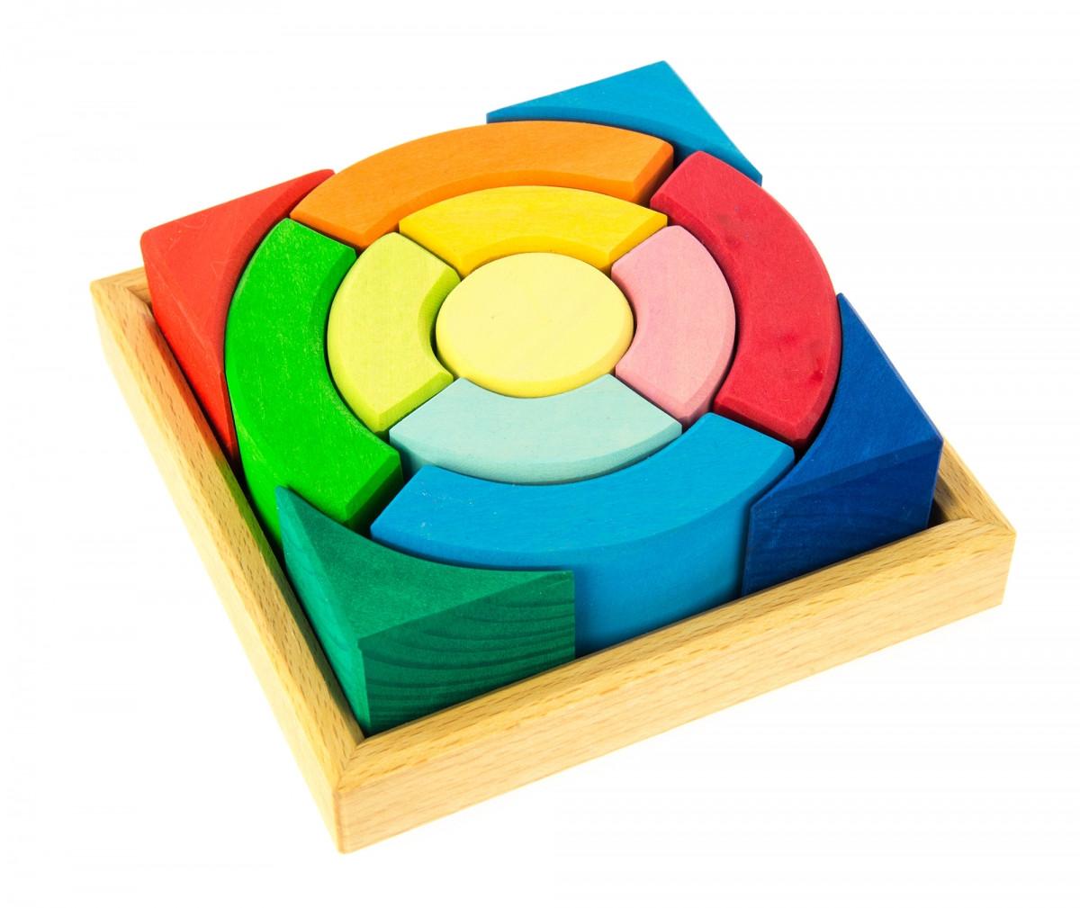 Креативный детский деревянный конструктор Разноцветный круг nic  NIC523344