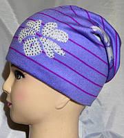 Вязаная шапочка для девочек на флисе
