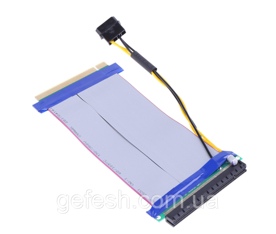 Райзер Riser PCI-E 16x to 16x удлинитель шлейф для видеокарты  с разъемом питания моллекс