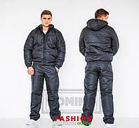 Костюм плащевка т. синий, черный. Куртка синтепон 200-ка+стёганная подкладка , капюшон съемный тдод№ 03-23
