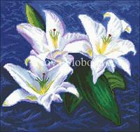 Рисунок на канве для вышивки нитками мулине ММ-2089 Белые лилии