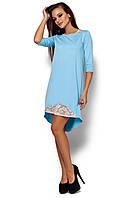 Женское платье, свободное, со вставками из гипюра, двунитка, голубое, размер 42-44, 44-46, 46-48