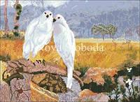 Рисунок на канве для вышивки нитками мулине ММ-3034 Белые птицы