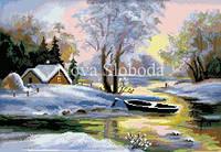 Рисунок на канве для вышивки нитками мулине ММ-3043 Лодка в снегу