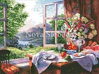 Рисунок на канве для вышивки нитками мулине ММ-3069 Окно в сад
