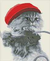 Рисунок на канве для вышивки нитками мулине ММ-3091 Котенок в кепке