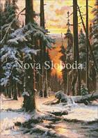 Рисунок на канве для вышивки нитками мулине ММ-3216 Закат в зимнем лесу