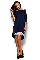 Женское платье, свободное, со вставками из гипюра, двунитка, тёмно-синее, размер 42-44, 44-46, 46-48
