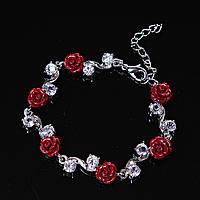 Браслет розы красные глина крупная страза застежка карабин