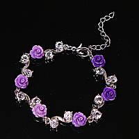 Браслет розы фиолетовые глина крупная страза застежка карабин