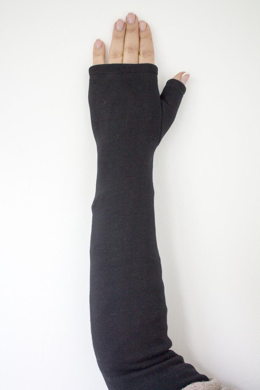 Женские перчатки стрейч без пальцев длинные