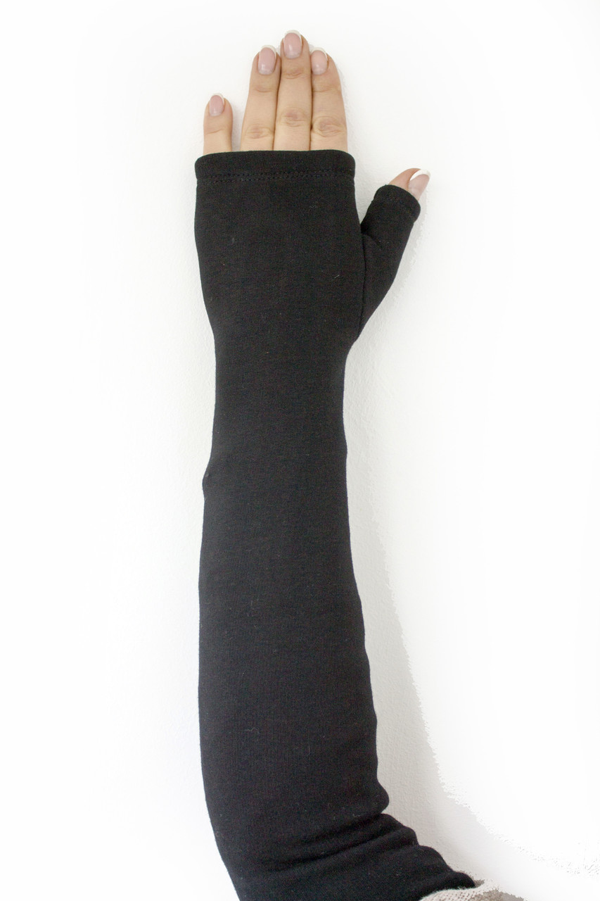 Женские перчатки стрейч без пальцев длинные МАЛЕНЬКИЕ