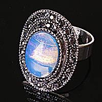 Кольцо безразмерное овал ажур черная страза Лунный Камень
