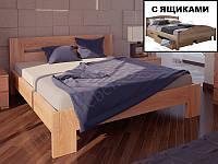 """Кровать из натурального дерева """"Вена с ящиками"""" ТМ ХМФ"""