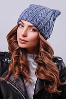 """Модная женская шапка """"кошка"""" с фурнитурой на левой стороне изделия цвета светлый джинс"""