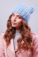 """Модная женская шапка """"кошка"""" с фурнитурой на левой стороне изделия голубого цвета"""