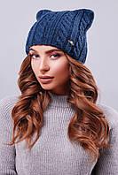 """Модная женская шапка """"кошка"""" с фурнитурой на левой стороне изделия цвета джинс"""