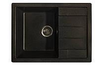 Гранитная мойка 65*50 прямоугольная Valetti черного цвета серия Europe модель №30