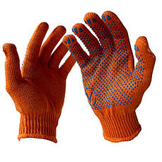 Перчатка рабочая трикотажная с ПВХ VIVA (упаковки по 10 пар) V-8412 (оранжевая)