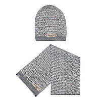 Набор Andriana Kids шапочка + шарф (серый расписан)