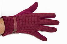 Женские стрейчевые перчатки Универсальные Бордовые, фото 3