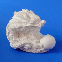 Фигурка для Раскрашивания Дракон с Жемчужиной Белый 4.5 x 6.0 x 4.5 см