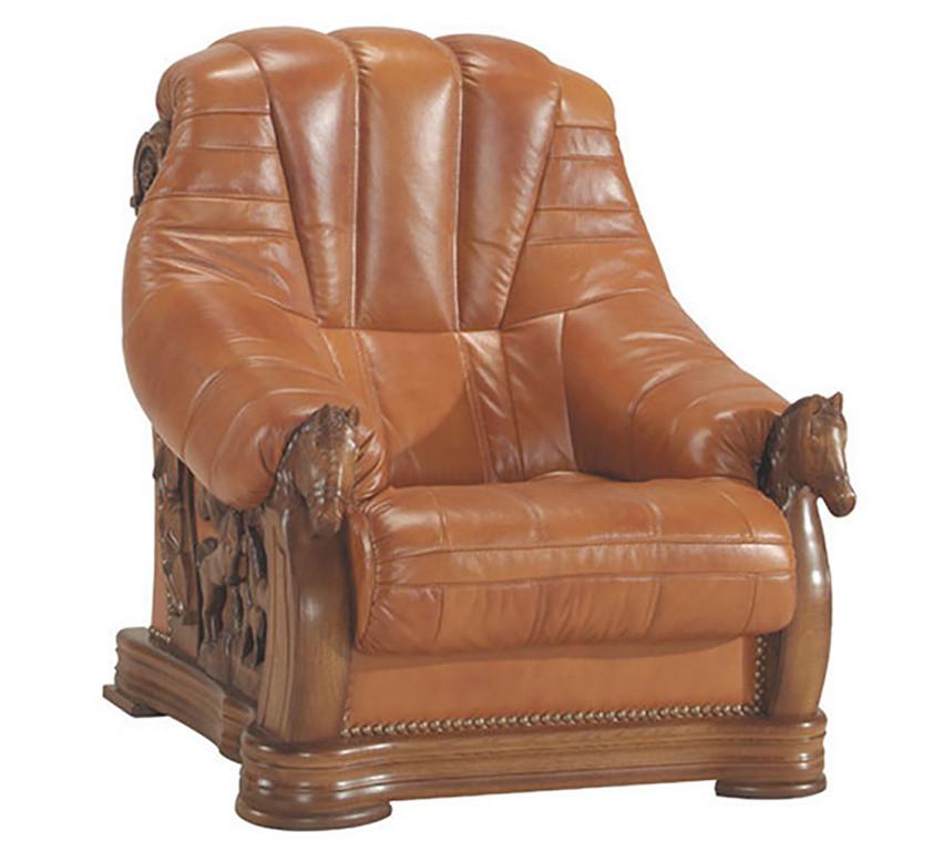Кожаное кресло с резьбой OSKAR (80 см)