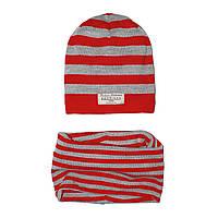 Набор Andriana Kids шапочка + хомут (красно-серый)