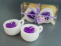 Свеча Арома Свечи Чашка и Сердце Фиолетовая Набор 2 шт 8.5 x 6.5 x 4.0 см