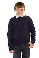Вязаный свитер Квадраты темно-синий