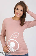 Облегающий лонгслив-реглан для беременных из хлопкового трикотажа с веселой накаткой на животе