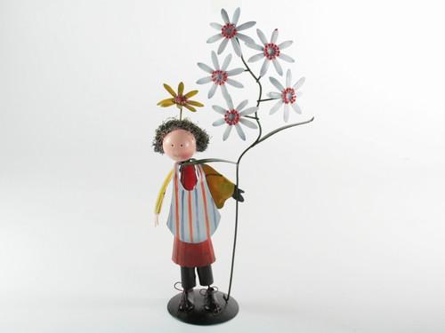 Фигурка Металл Статуэтка жестяная Дети Цветов Мальчик с Ромашками 27.0 x 6.0 x 5.0 см