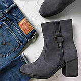 Женские замшевые ботинки на устойчивом каблуке, фото 2